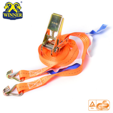 Polyester Ratchet Tie Down Strap Cargo Lashing With Hooks