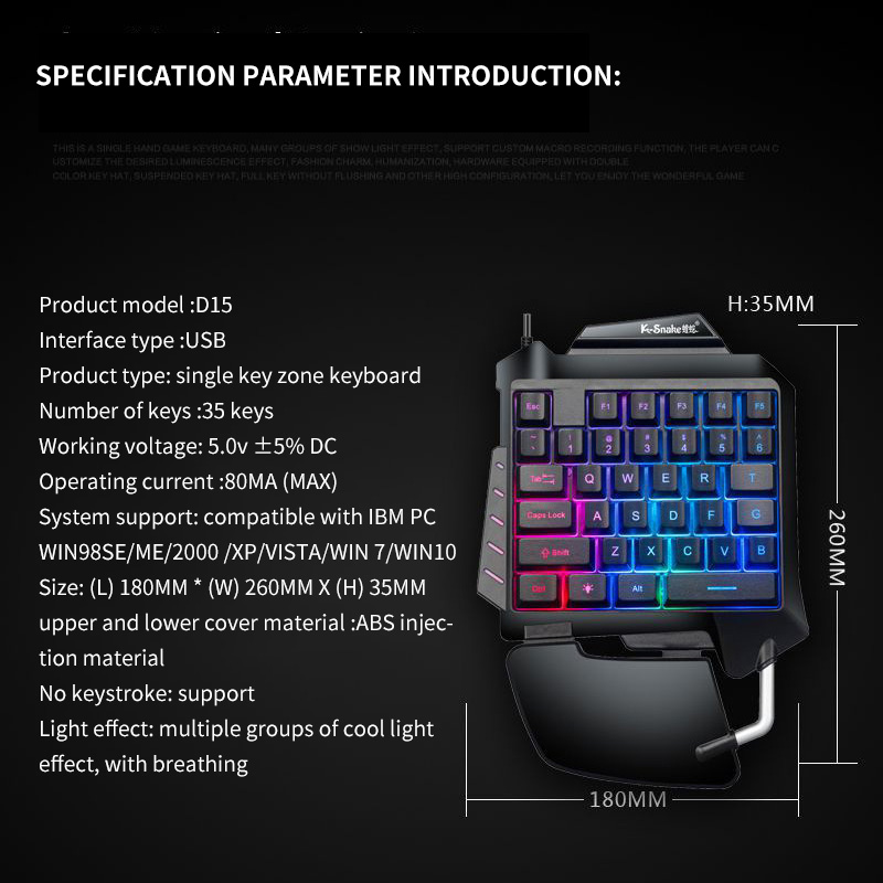 Cool 35 Keys Gaming Keypad Anti-Skid Wired With LED Backlight One-Handed Membrane Keyboard For LOL/PUBG/CF Keyboard Portable