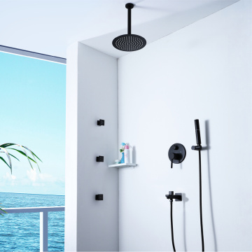 Wall Mounted Black Brass Hot Cold Shower Faucet