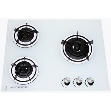 3 White Glass Gas Cooktop
