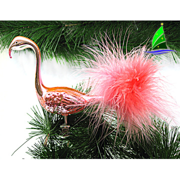 Christmas tree glass flamingo shaped decoration ornament