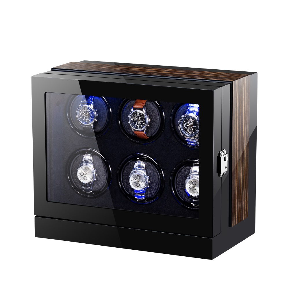 Six Rotors Gloss Finish Wooden Winder Box