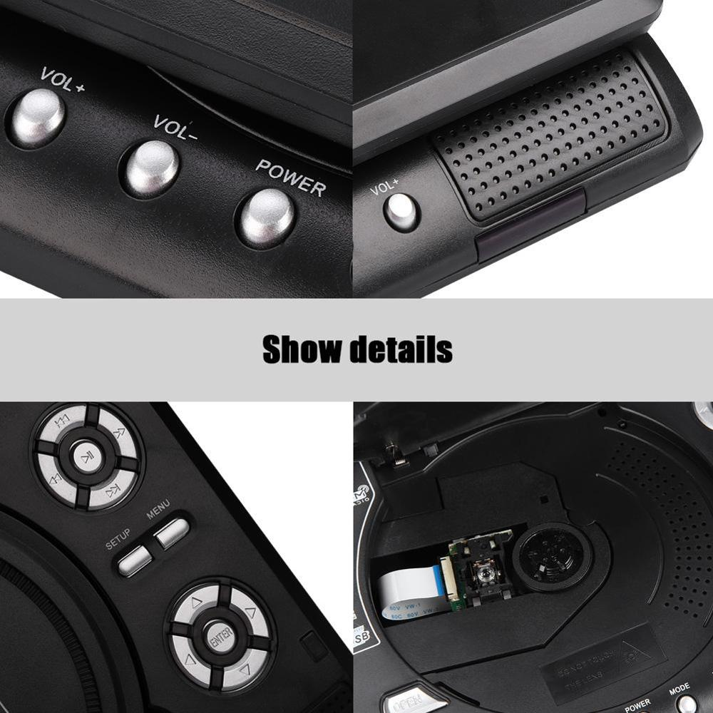 7.8 Inch Portable HD TV Home Car Mobile DVD Player VCD CD MP3 DVD Player USB SD Cards RCA TV Cable Game 16:9 Rotate LCD Screen