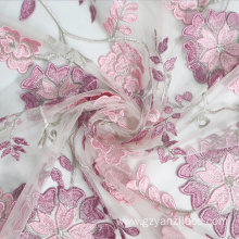 Fuchsia Pink Rose Flower Lace Fabric