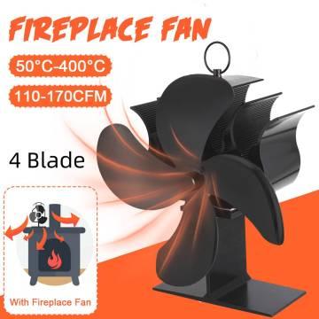 4-Blade Fireplace Fan Heat Powered Wood Stove Fan Log Burner Woodburning Stove Ecofan Quiet Fan Efficient Heat Distribution