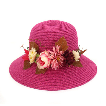Classy hat light greens flower decoration straw hat