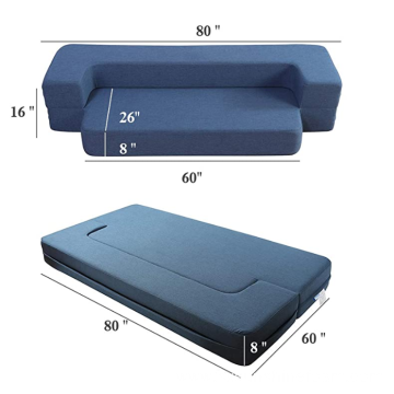 Folding Bed Couch Dark Blue Queen