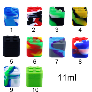 200pcs Silicone cube jars lego dab wax container dry herb square 11ml silicone weed jar bho vaporizer oil containers