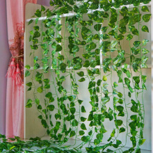 2.1M Long Artificial Plants Green Ivy Leaves Artificial Vine Fake Parthenocissus Foliage Leaves Home Wedding Bar hanging plants