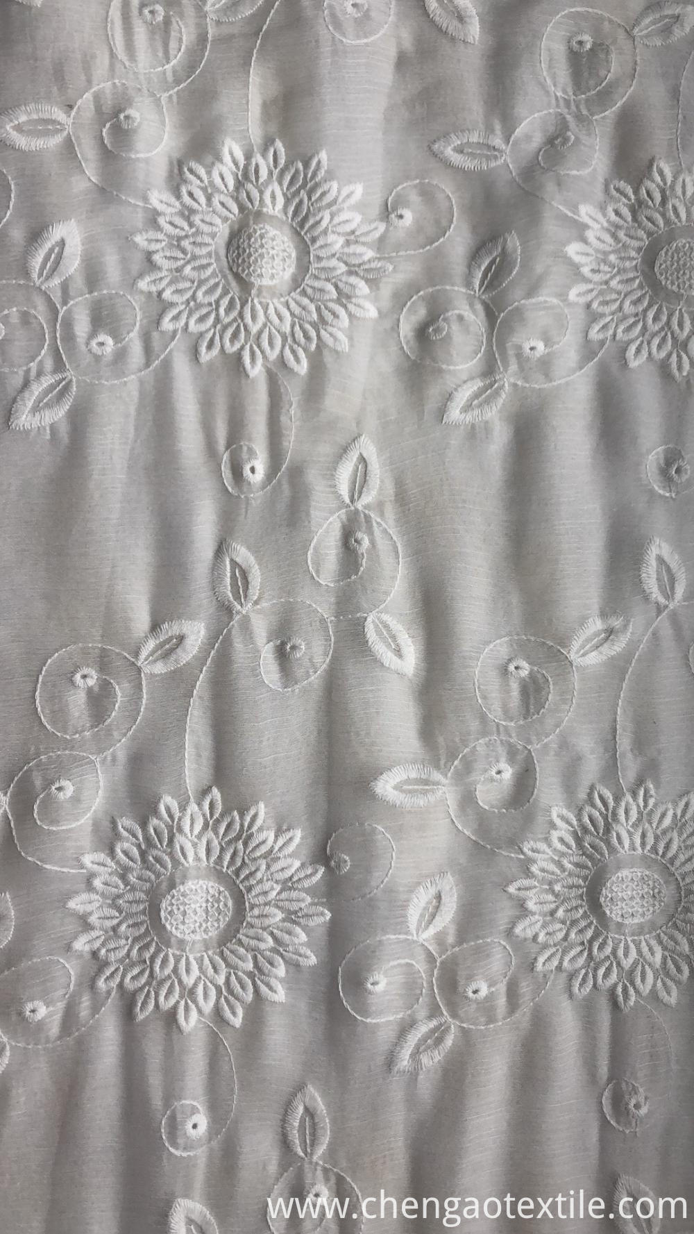 Sunflower Chiffon Embroider Fabric