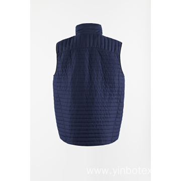 Navy quilted light vest with stand collar