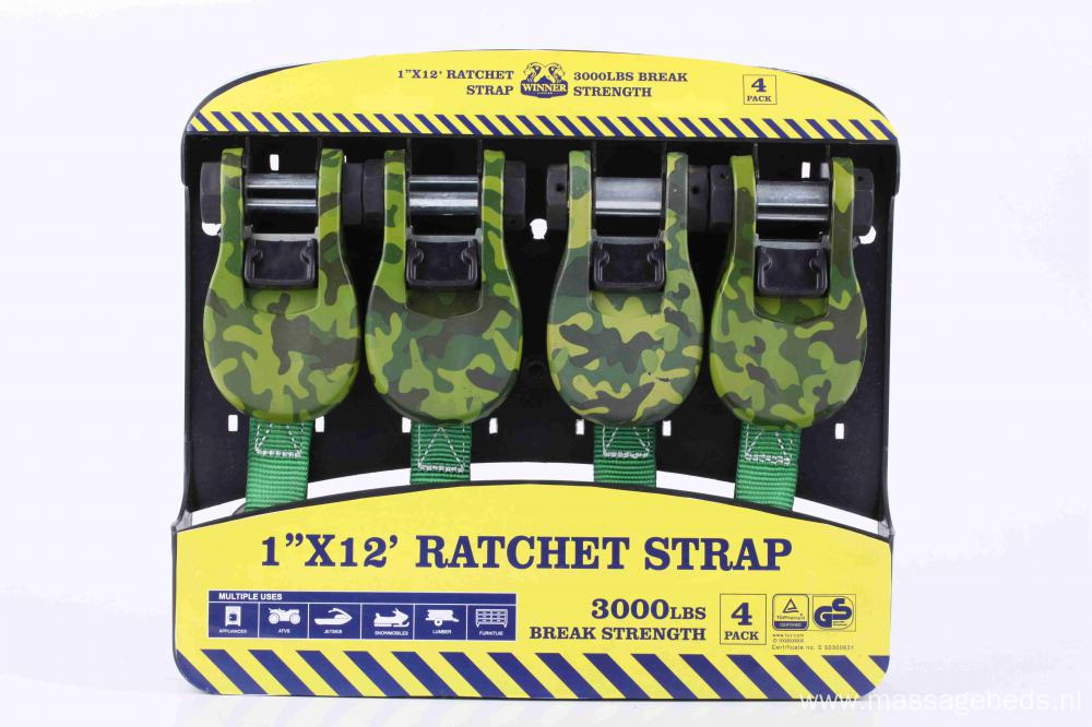1''X12' 3000lbs Ratched Lashing Belt Kit  4 sets