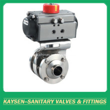 Hygienic Aluminium Pneumatic 3PCS Butterfly Valve 3A/SMS/ISO
