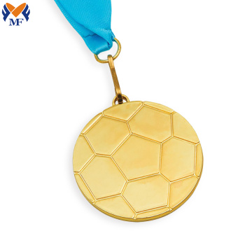 Golden sport football shape medal