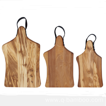 Walnut wood chopping board with leather handle