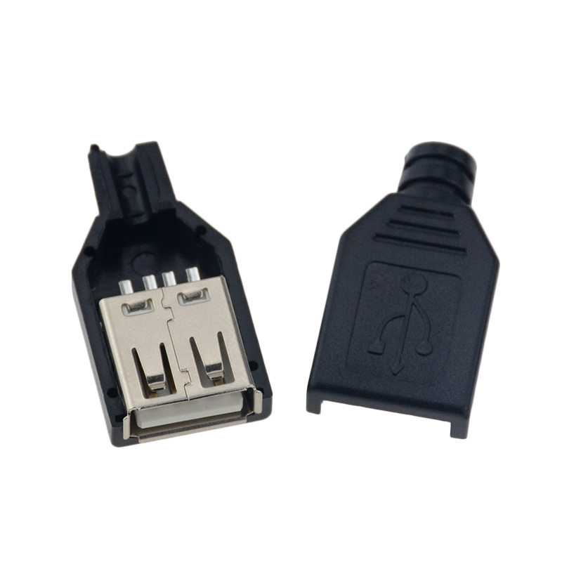 10pcs Type A Male Female USB 4 Pin Plug Socket Connector With Black Plastic Cover Type-A DIY Kits
