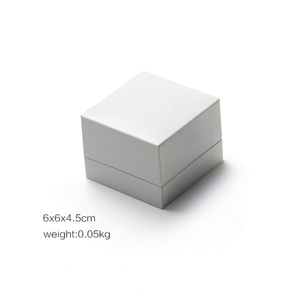 White Jewelry Ring Packaging Box With Velvet