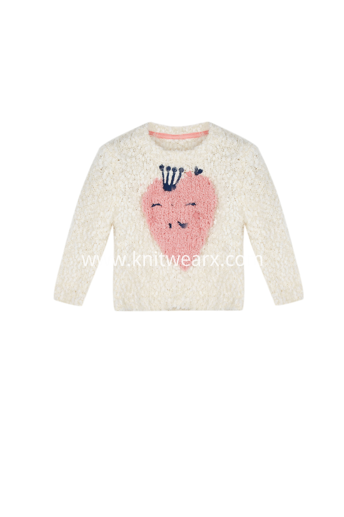Baby Girl's Happy Strawberry Pullover Tape Yarn Crew Neck Long Sleeves Sweater