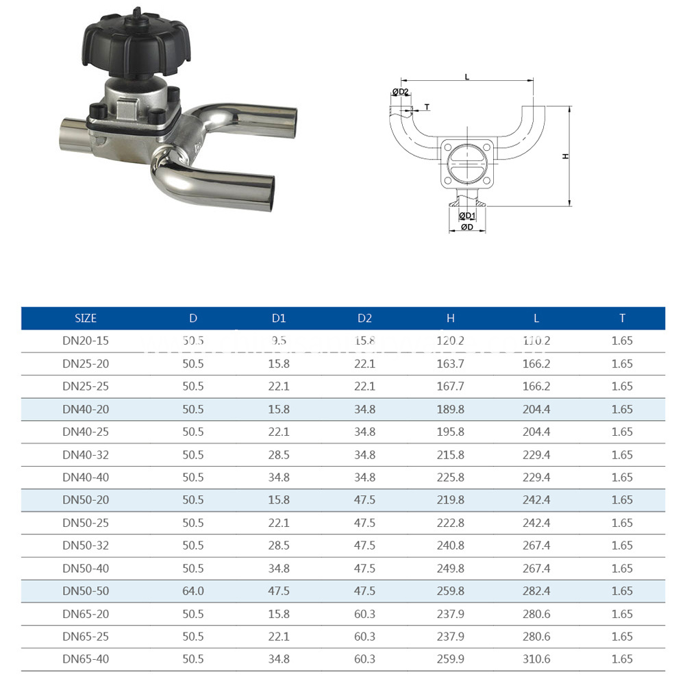 sanitary U type diaphragm valve