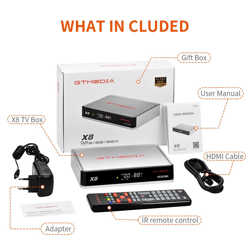 NEW gtmedia X8 DVB-S/S2/S2X V8 NOVA next's generation H.265 Built in 2.4G wifi satellite tv receiver TV set-top box for Spain TV