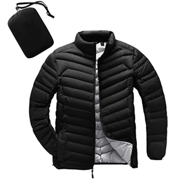 Men's  Down Jacket Water-Resistant with Zipper Pockets