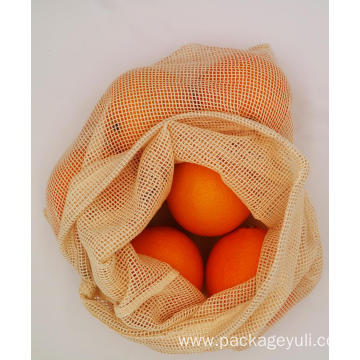 custom zero waste cotton mesh drawstring bag