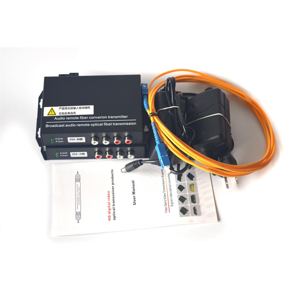2 Channel Audio over Fiber Optic Media Converter/Extender Singlmode 20Km & Multimode 500m for Broadcasting Intercom System