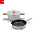 Wooden Handle Nonstick Kitchen Cooking Pot Coowkare Set