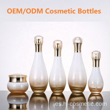Wholesales high-grade Bowling shape Gradient golden cosmetics electroplating glass bottle/jars with good price