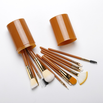 Orange Handle Synthetic Hair Makeup Brush Set