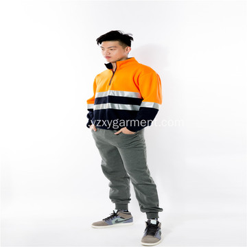 Orange reflector light polar fleece workwear