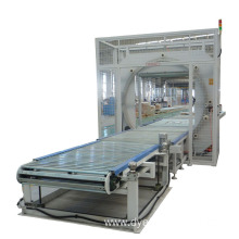 Horizontal stretch wrapping machine door wrapper