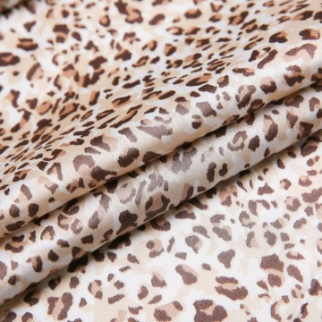 Leopard Print Woven Polyester Spandex Fabric