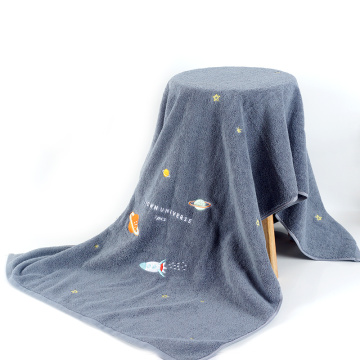 dark grey new design embroidery terry bath towel