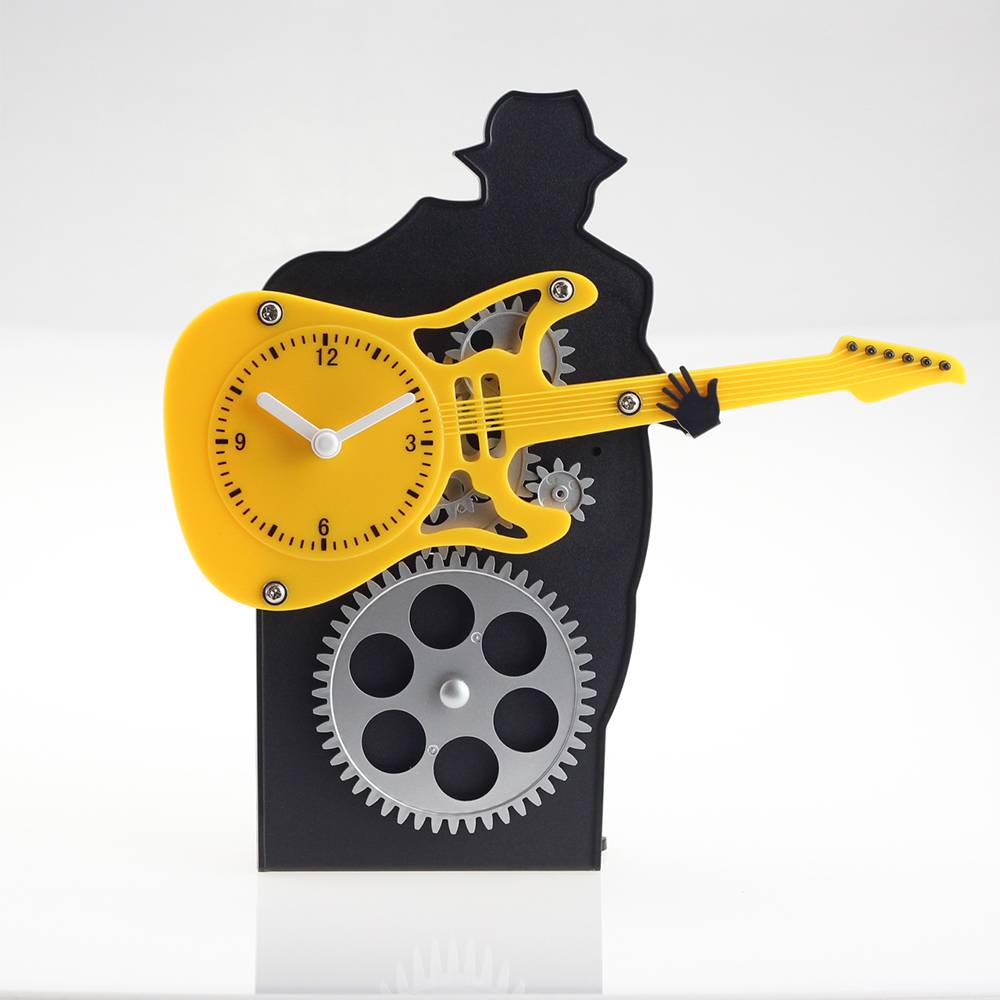 Man With Guita Gear Desk Clock