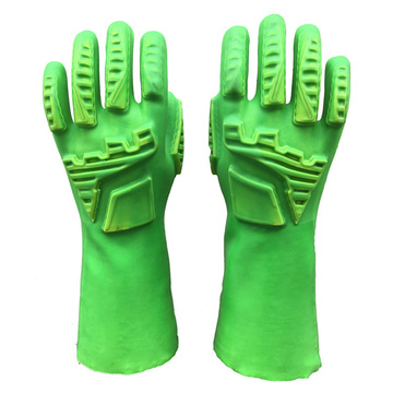 Green Fluorescent 100% Cotton Impact Resistant Gloves