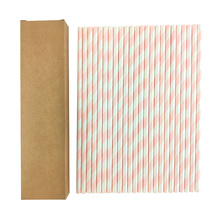 24pcs in pack Paper Straws Disposable Foil Striped Drinking Straws Biodegradable Cocktail Paper Straws Drink Tool EOC Single Use
