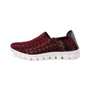 Casual And Simple Wine Red Woven Loafers