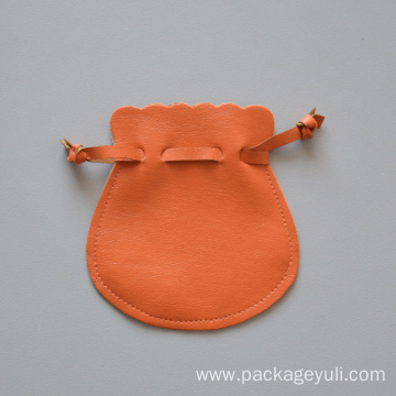 PU leather drawstring pouch gift bag