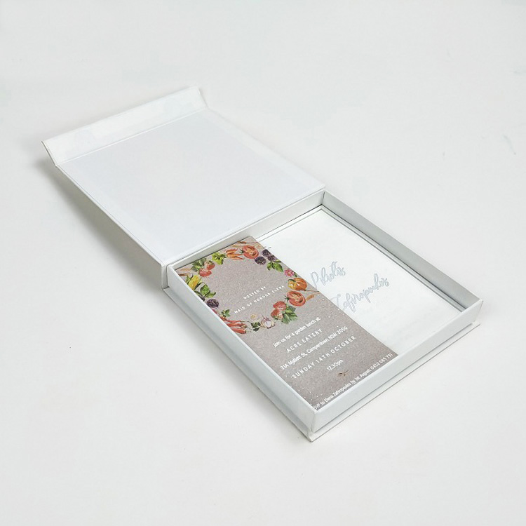 Square gift packaging magnetic box for invitation cards