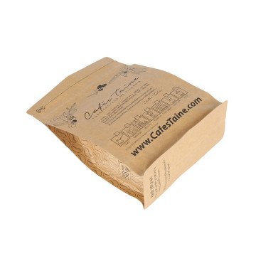 Eco Friendly Brown Paper Kraft Ziplock Coffee Bag Flat Bottom With Valve