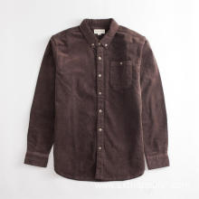 Men's Coffee Color Corduroy Shirt Jacket