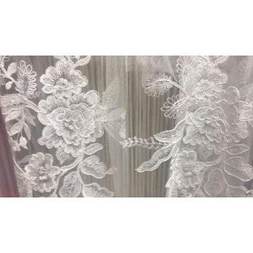 wedding design white flat polyester embroidery fabric