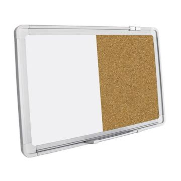 Education half magnetic whiteboard and half corkboard