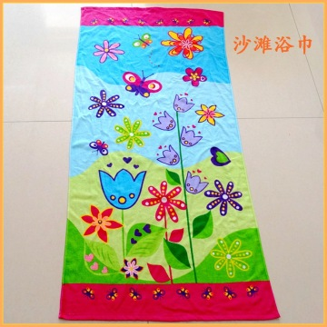 Cotton Velour Flower and Butterfly Printed Beach Towel