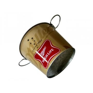 Round Tin Ice bucket with flexible handles