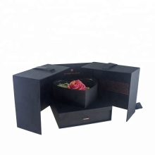 Luxury Black Rigid Cardboard Flower Gift Paper Box
