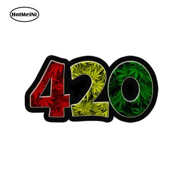 HotMeiNi Car Styling Car Sticker 420 Rasta vinyl Sticker - Weed Leaf Leaves dank bud bumper car truck Waterproof 13cm* .7.5cm