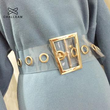 Fashion Women Transparent Wide Waist Belt Female Designer Trapezoid Gold Metal Buckle Dress Laser Clear PVC Belt 235
