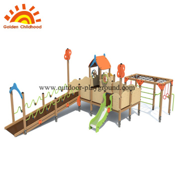 outdoor playground wooden play structure HPL